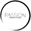Text saying Passion Academy of Dance inside a black circle