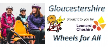 image of 3 people on a bike that has four seats, Gloucestershire wheels for all logo and leonard cheshire logo