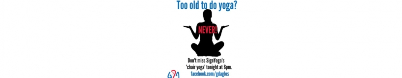 banner for chair yoga in BSL