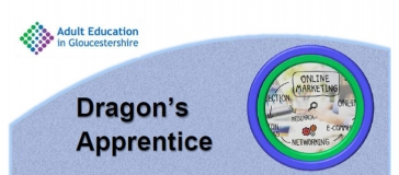 Adult education logo, text 'Dragon's apprentice' more text 'online marketing, research, networking'