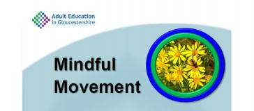 Adult education logo, text 'Mindful movement', image of yellow flowers