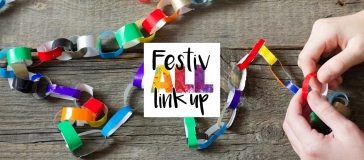 Festivall link up logo, pair of hands making paper chains