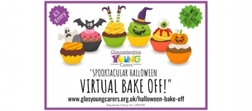 cupcakes, glos young carers logo, text reads 'spooktakular virtual bake-off! www.glosyoungcarers.org.uk/halloween-bake-off'