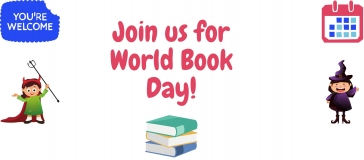 text reads 'join us for world book day'; yw logo; event icon, images of books and two girls dressed up as a superhero and a witch