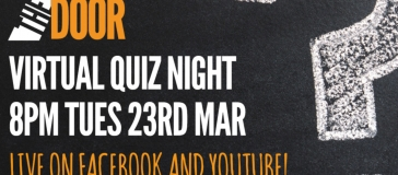 text reads 'the door virtual quiz night. 8pm Tues 23rd March. Live on Facebook and Youtube!'