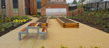flower beds with plenty of space for new planting