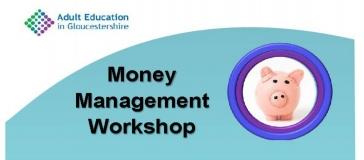 Piggy bank with title 'Money Management workshop'
