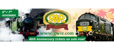 steam trains, text reads '6th/7th November.  40th anniversary tickets on sale now. www.gwsr.com