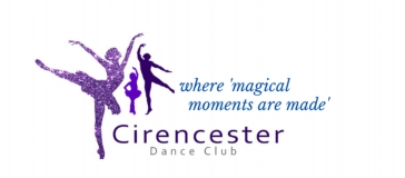 Shows a adult lady and adult man dancing with a child dancer between them, all in shades of purple.  Words read Cirencester Dance Club where magical moments are made