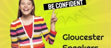 confident young woman doing public speaking