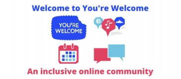 text reads 'welcome to you're welcome, an inclusive online community'; yw logo and icons