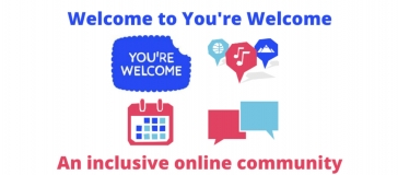 You're Welcome logo and icons, text reads 'welcome to You're Welcome, an inclusive online community'