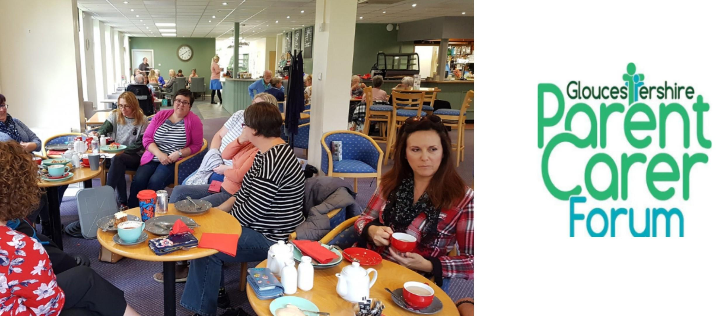 parents sitting round cafe table chatting