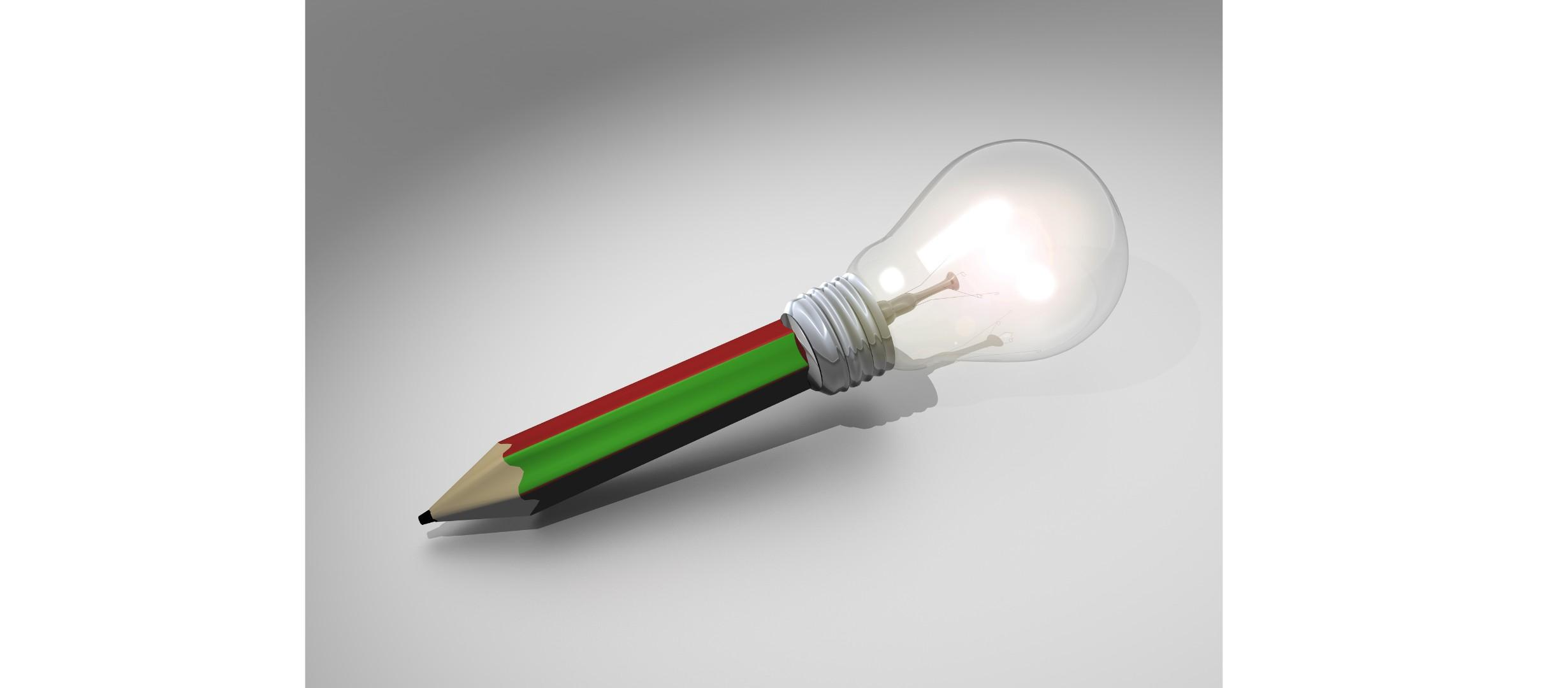 pencil with lightbulb at the end