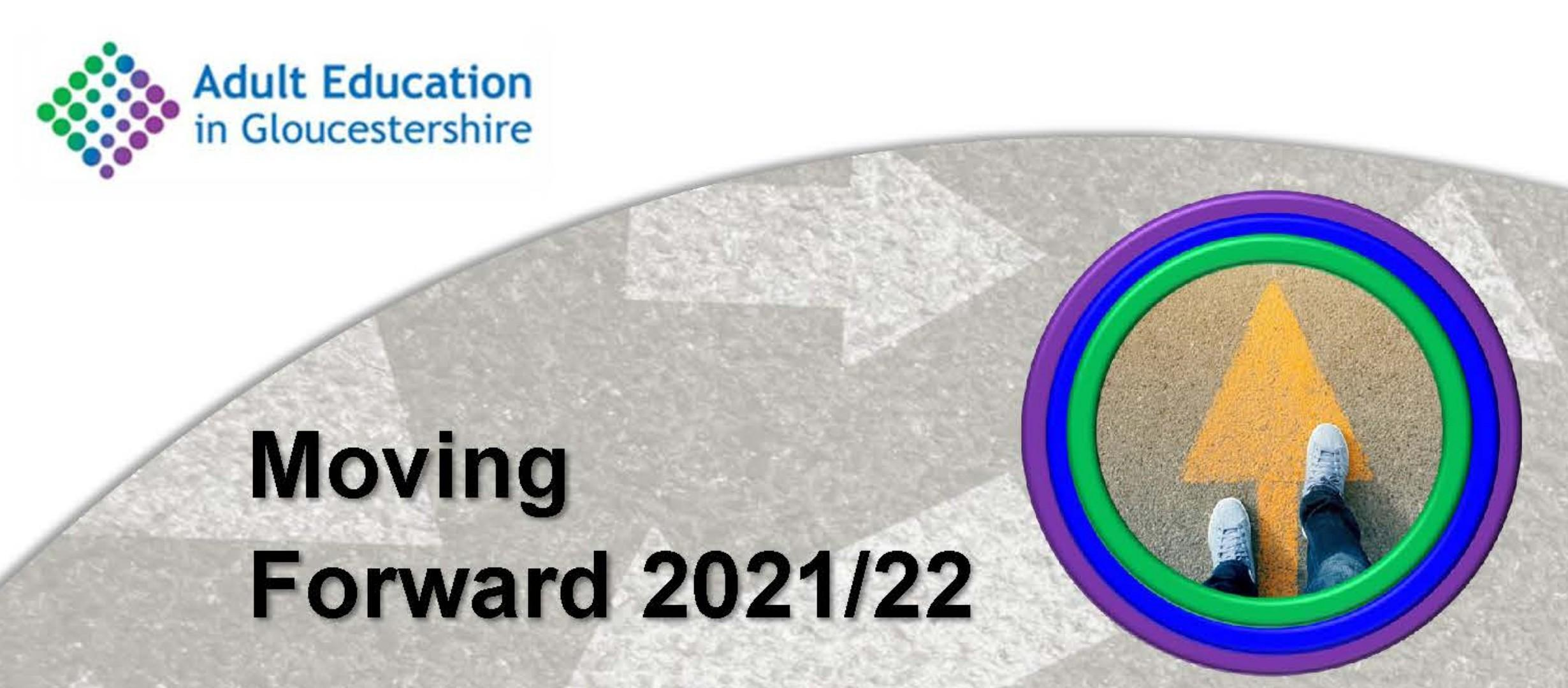 Moving Forward 2021/22, Stepping forward, adult education logo
