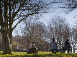 People on a bench by trees at Robinswood Hill