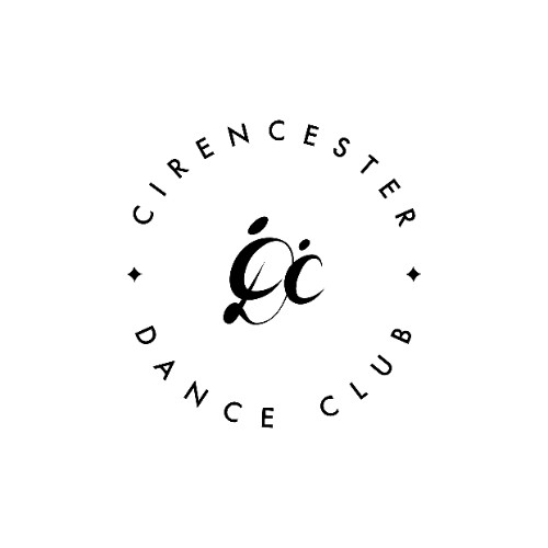 Cirencester Dance Club shows an adult shape in the shape of an entwinned C and D with a smaller shape of a C like a family