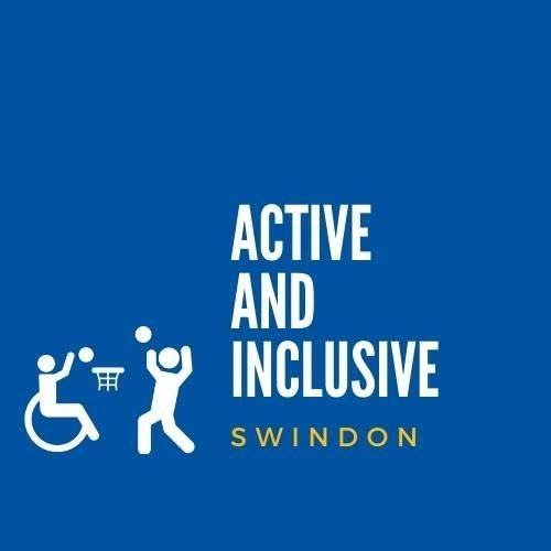 symbol of person in a wheelchair and person standing playing basketball, text reads 'Active and inclusive swindon'